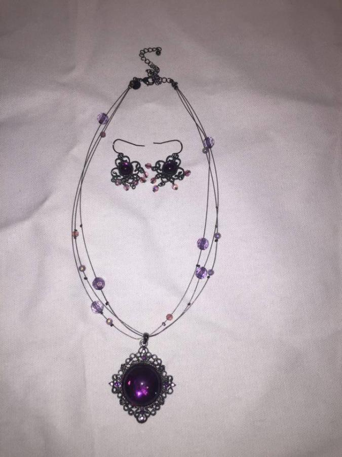 Necklace and earring set with purple stones
