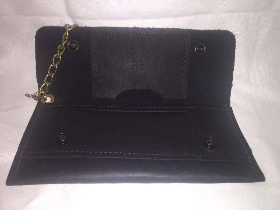 Black Leather Wallet with Chain